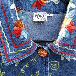 Raj Tops - Floral Embroidered Jean Jacket